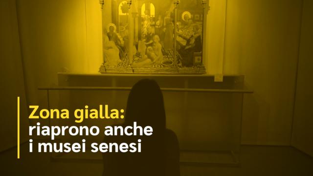 Zona gialla: riaprono anche i musei senesi. Visitatore nel museo