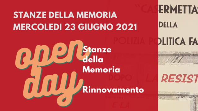 Open Day Stanze della Memoria Mercoledì 23 giugno dalle ore 10 a Siena