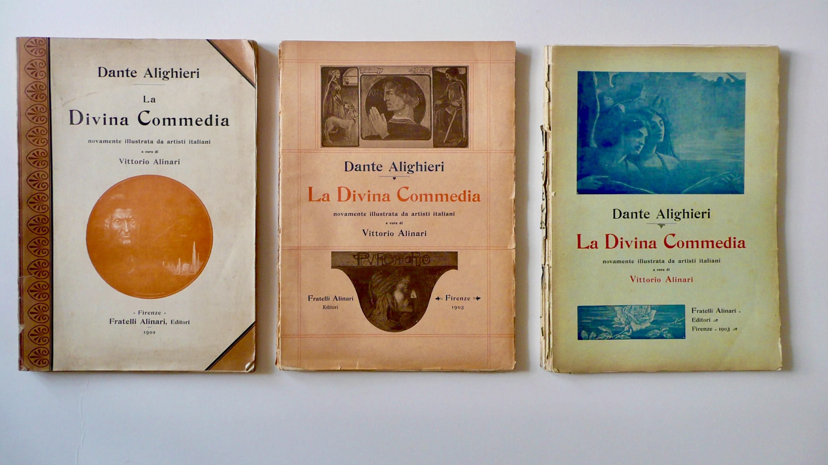 La Divina Commedia nuovamente illustrata da artisti italiani, Edizione Alinari, 1902-1903, Copertine delle tre cantiche